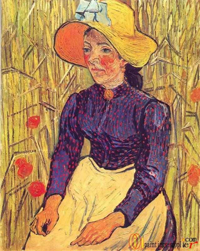 Young Peasant Woman with Straw Hat Sitting in the Wheat.