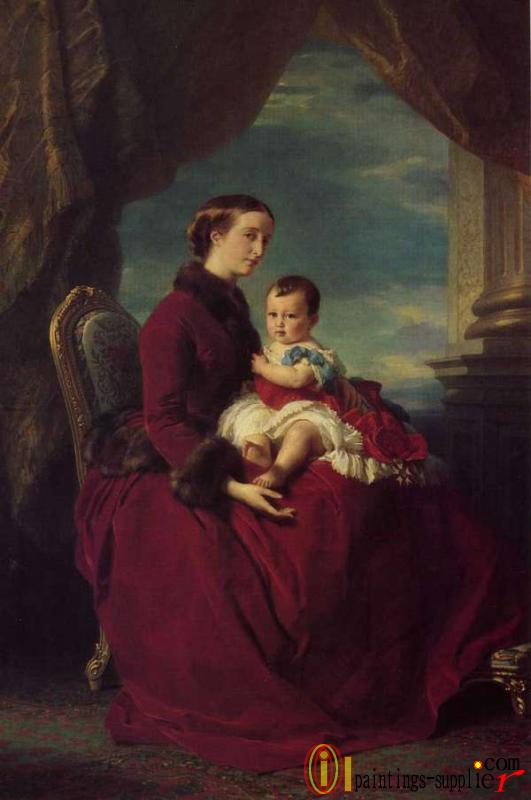 The Empress Eugenie Holding Louis Napoleon, the Prince Imperial on her Knees 1857