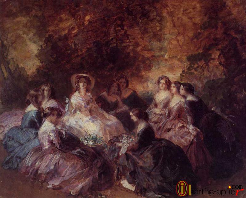The Empress Eugenie Surrounded by her Ladies in Waiting 1855