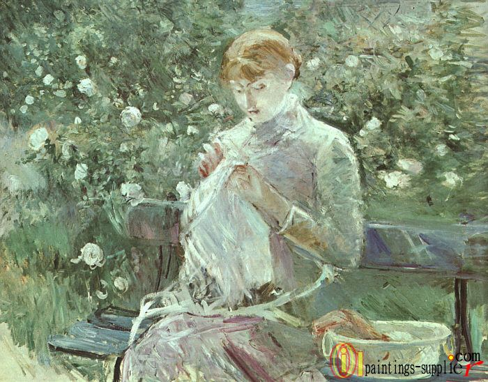 Young Woman Sewing in a Garden.