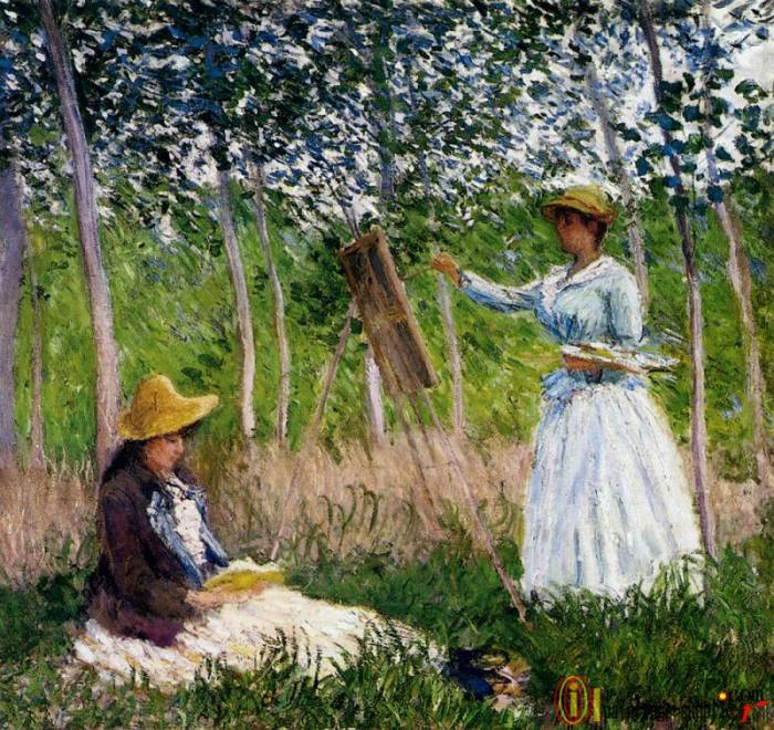 In The Woods At Giverny Blanche Hoschede Monet At Her Easel With Suzzanne Hoschede Reading